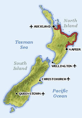 Auckland – Whakatane – Napier > Driving Routes > New Zealand