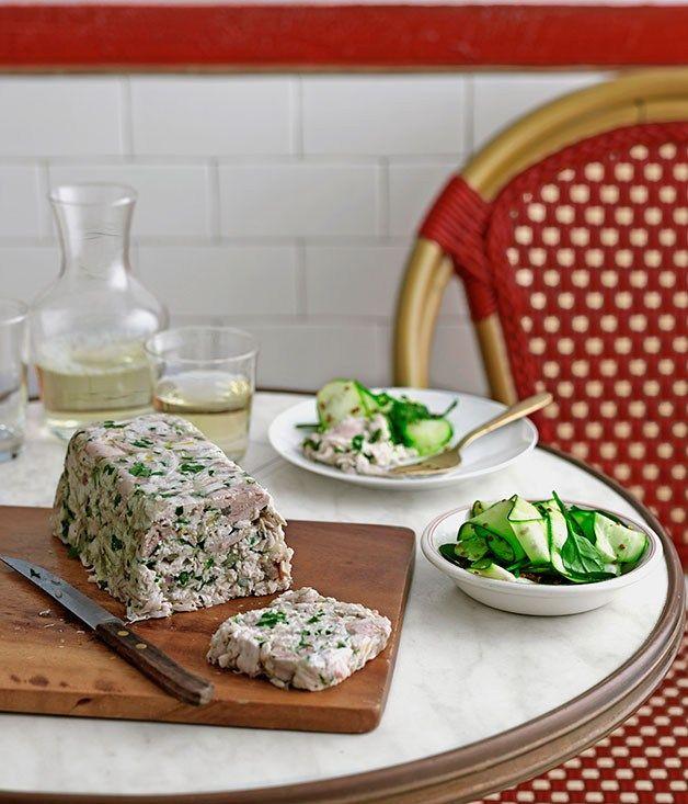 Chicken and parsley terrine with zucchini salad