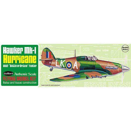 Guillow's Hawker MK-1 Hurrican Model Kit, Multicolor