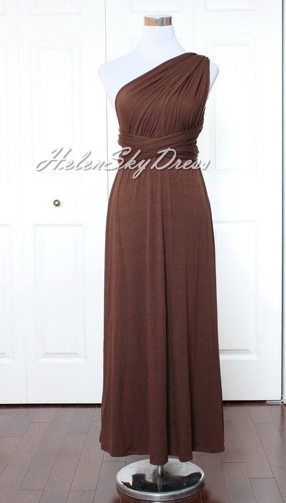 Chocolate Bridesmaid Dress long Infinity Dress by HelenSkyDress