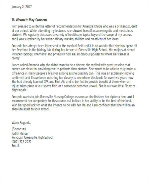 Sample Letter Of Recommendation For Nurse Practitioner School