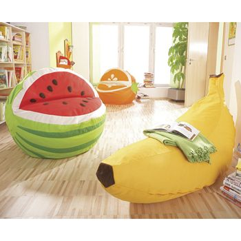 From Front To Back: Banana, Watermelon And Orange Shaped Beanbag Chairs
