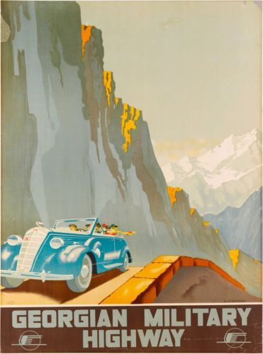Georgian-Military-Highway-Russia-Vintage-Russian-Travel-Advertisement-Poster