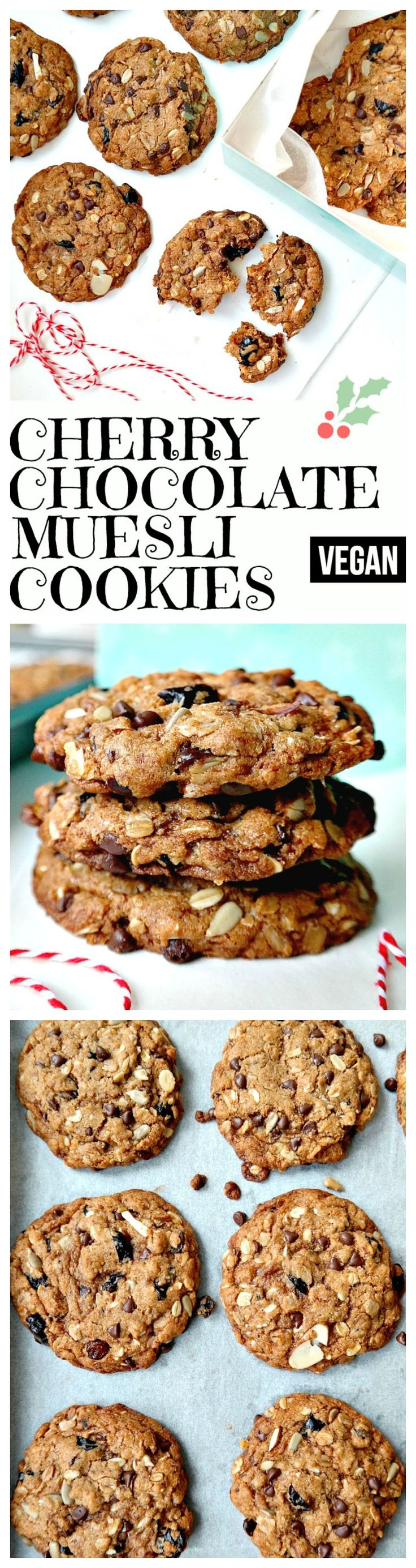 Cherry Chocolate Muesli Cookies. VEGAN. Crunchy on the outside, chewy on the inside. Bites of wholesome golden goodness with tart dried cherries, chocolate chips, date crumbles, chewy raisins and crunchy oats. Easy to bake and absolutely delicious! From The Glowing Fridge.
