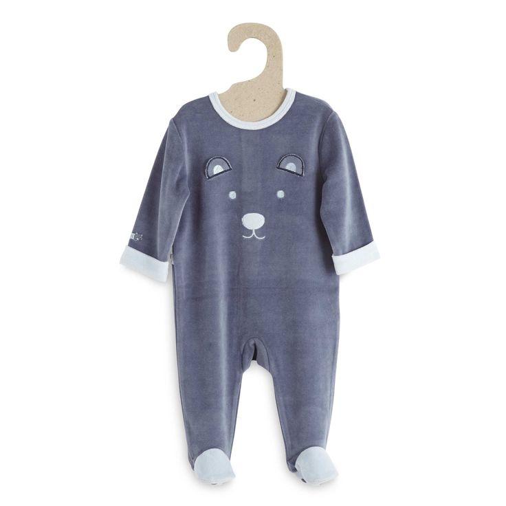 Pyjama 1 pièce velours                                                                                                                                                                                                                                                     rayé bleu Bébé garçon