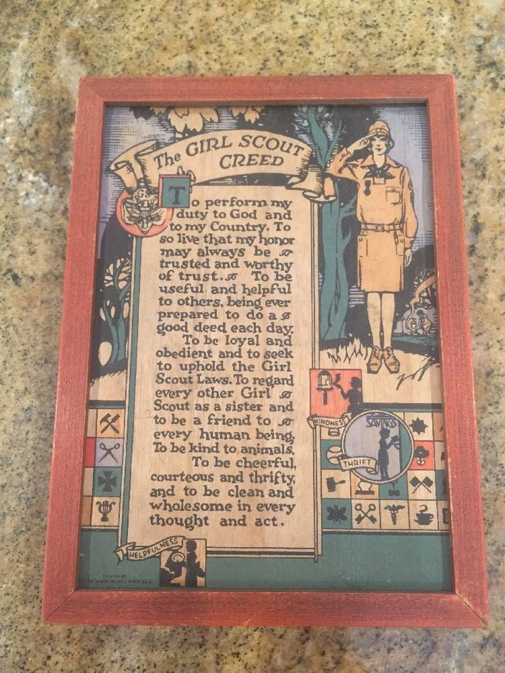 Vintage The Girl Scout Creed Hand Tinted Art Plaque A