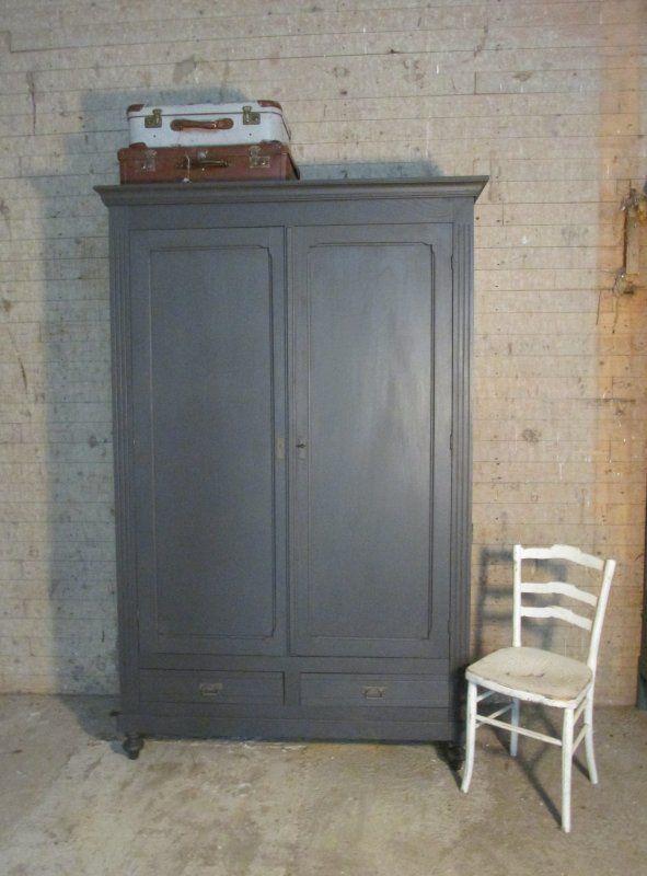 Antieke demontabele kast, Antraciet, tv kast