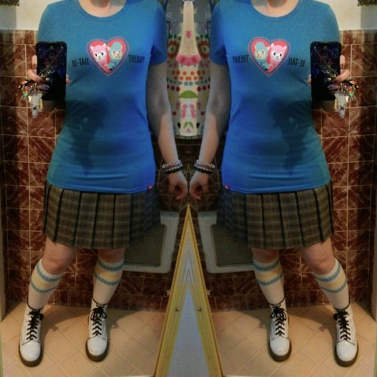 Yesterday's work outfit: Animal Crossing Re-Tail Therapy alpaca tee from the NYC Nintendo store (omiyage from @mikevsuarez ❤), thrifted plaid pleated skirt, sport sox and Docs. #ootd...