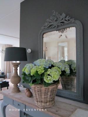 mooie antraciet grijse mat geschilderde spiegel