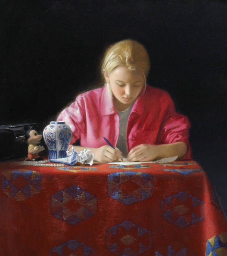 Girl writing a letter - Jonathan Janson