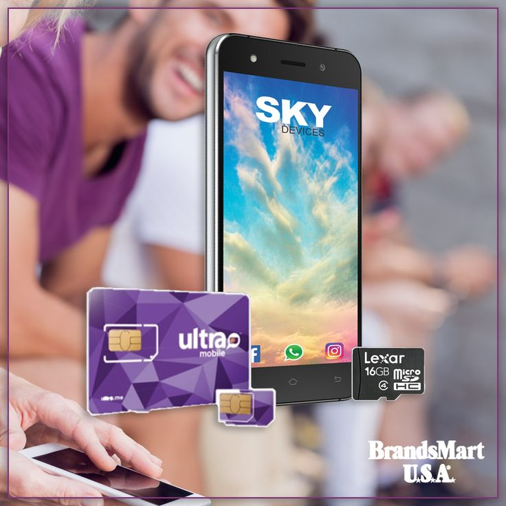 """Sky Devices Fuego 5.0 Smartphone Bundle Pack: Ultra Mobile SIM Card With One Month of International Talk & Text. This robust bundle features a Sky Fuego 5"""" unlocked Android Smartphone. It includes one month of international talk and text, national talk, text, and 4G LTE data through Ultra Mobile. It comes with a free 16GB LEXAR Micro SD card. - Android - Deals - Smartphone - Sale - Phone - Mobile - Tech - Bundle"""