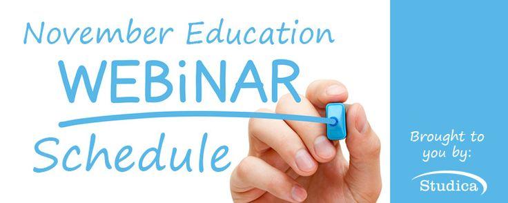 November Education Webinar Schedule Announced