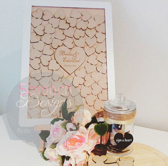 White Drop Box Frame with hearts - Alternative Wedding / Engagement / Birthday Guest Book - Signature Board
