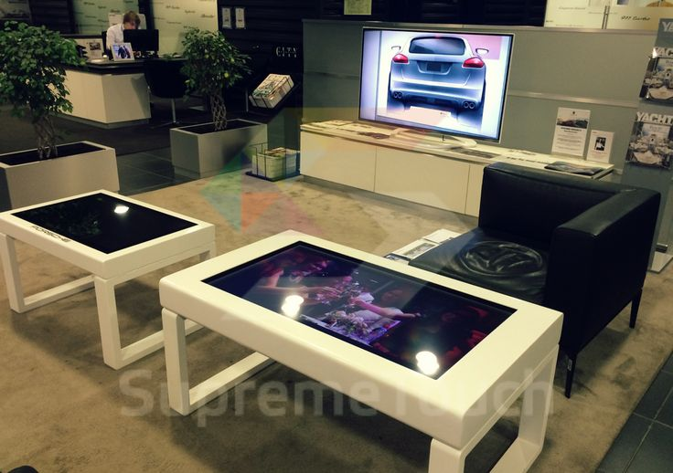 "32"" and 42"" #multitouch coffee tables waiting to be installed in Porsche center. Made of #Corian stone."