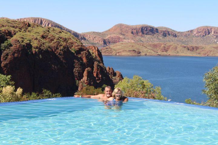 Retirees Enjoying Travel: Lake Argyle in the Kimberley, Western Australia.