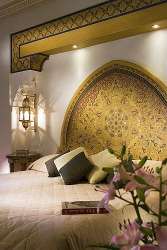 You know you're in Morocco when your hotel room bed looks like this... Sofitel Hotel Marrakesh. #Moroccan #Handpainted #Headboard.