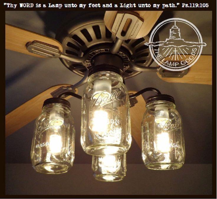 low voltage interior lighting kits%0A Mason Jar CEILING FAN Light Kit New Quart Jars