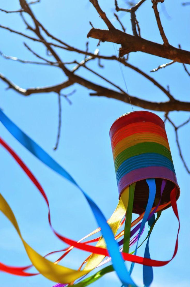Recycled Rainbow Windsock #DIY