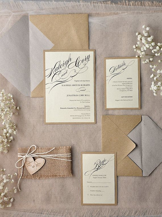 Rustic Wedding Invitations 20 Wedding by forlovepolkadots on Etsy