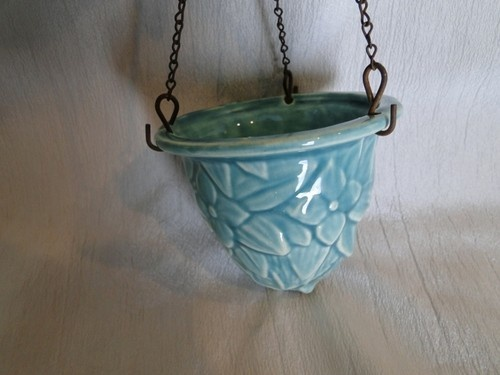 Small Green Floral McCoy Pottery Hanging Planter, Metal chains