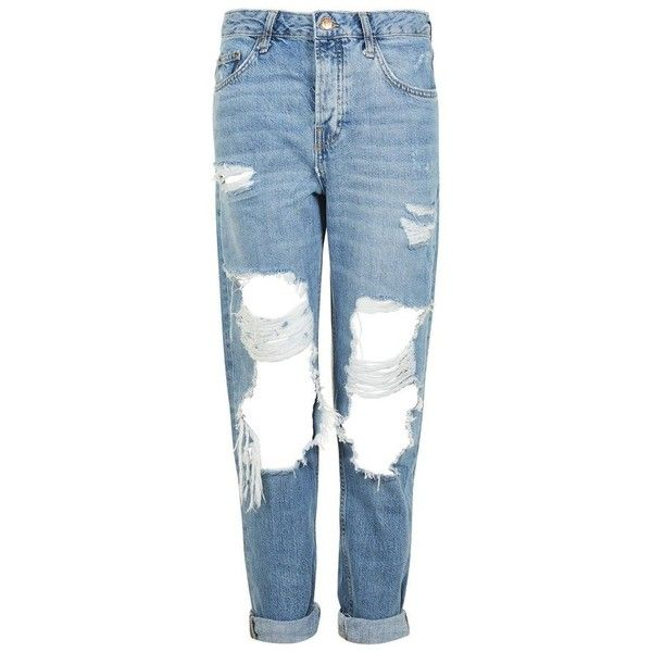 Women's Topshop Hayden Ripped Boyfriend Jeans ($85) ❤ liked on Polyvore featuring jeans, destroyed jeans, blue ripped jeans, denim jeans, distressed jeans and torn boyfriend jeans