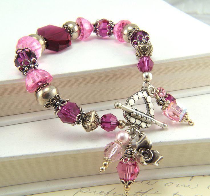 Pink Sterling Silver and Crystal Bracelet - love