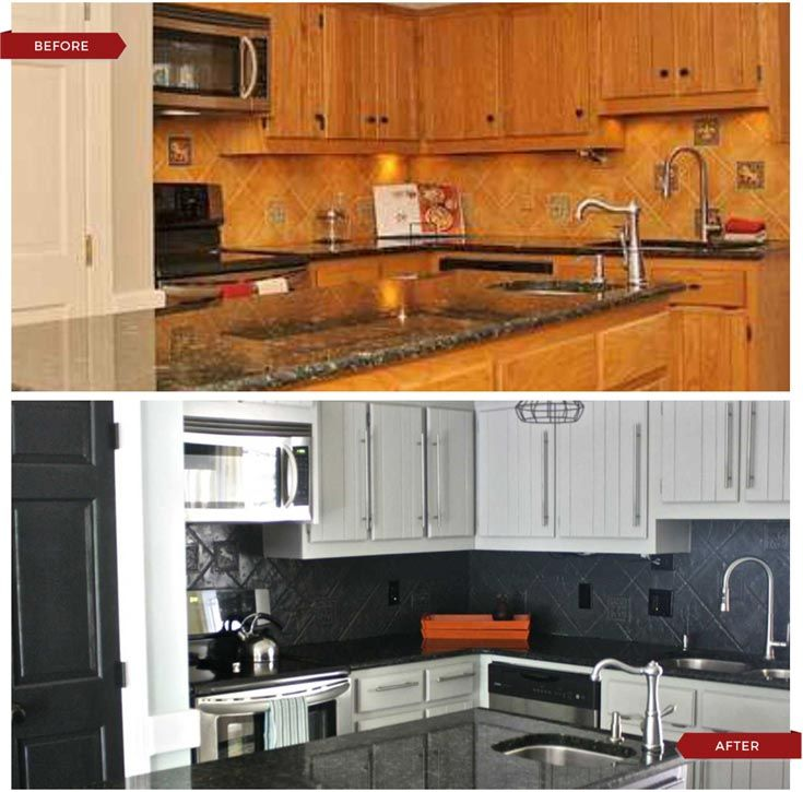 To Update The Look Of Your Cabinets Replace Dark Iron Cabinet Handles With Modern Long Bar Nick Kitchen Cabinets Shop Kitchen Cabinets Online Kitchen Cabinets