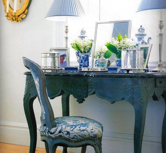 Classic and elegant. Carolyne Roehm dressing table. A Passion for Blue and White.