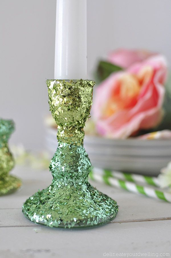 Two Toned Candle Holder with #marthastewartcrafts Glitter