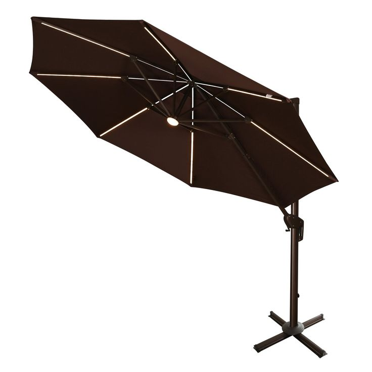 Ulax Furniture Rotation 11 Ft Deluxe Solar Powered LED Lights Outdoor  Offset Hanging Market Umbrella, Cantilever Patio Umbrella, 7 Different Tilt  Positions, ...