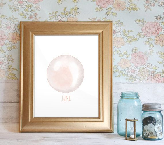June Birthstone Print, June Gemstone, Pearl Print, Pearl Birthstone, Gift for June Babies: Pearl