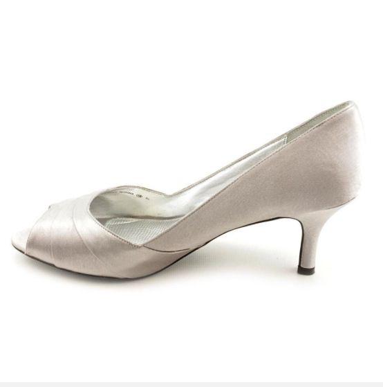 Silver Satin Mid Heel Shoes by Nina 'Criana'