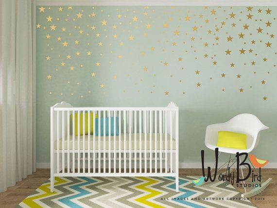Gold star decals set of 129 Make a focal area, or do the whole wall. Use your creativity to create any pattern you like on one accent wall or a whole room. Gives the look or wallpaper or stencils without the mess and fuss. Photos shown are using 2 sets  Perfect for rentals and dorms! They are easy to apply and are removable without damaging your paint. A fun and elegant way to add some pizzazz to your decor!  PLEASE READ INFO ON CHOOSING COLORS BEFORE ORDERING…