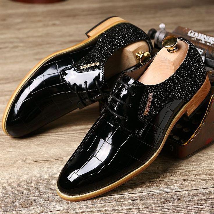 Vintage Dress Shoes Men Oxfords Shoes For Men Formal Shoes Leather Men Flats Brown Black Blue #ShoesForMen