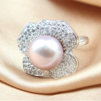 12-13mm Natural Pearl Ring 925 Silver Adjustable Ring Opening Luxury Fashion