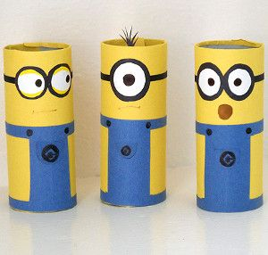 Cardboard Tube Minion Crafts | AllFreeKidsCrafts.com Couldn't you just eat these crafts for kids up? You have all the materials in your home already!!