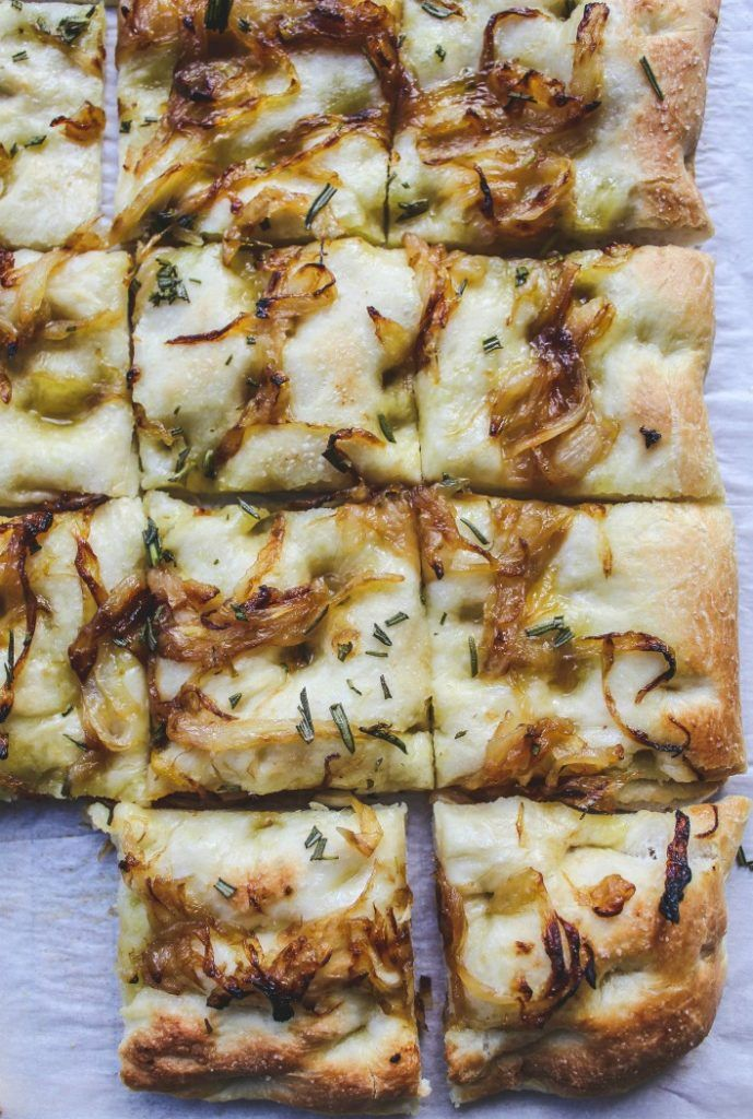 Rosemary And Caramelized Onion Focaccia Vegan Recipe Focaccia Recipe Caramelized Onions Bread Toppings