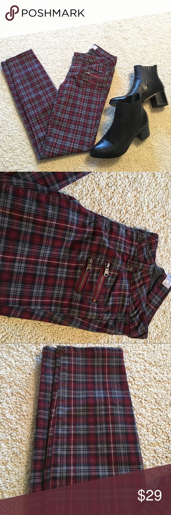 Plaid Skinny Pants Red/gray/black plaid skinny pants.   Zippered pocket design (not real pockets) but other two front pockets are real.  Juniors size 1 fits like women's 0-2. Jolt brand purchased at Nordstrom.  Boots in photo are not for sale, just for outfit inspiration  Jolt Pants Skinny