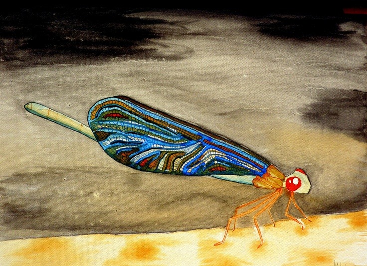 Dragonfly in ink. Pencil and brush. By MW