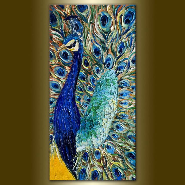 Original Peacock Oil Painting Textured Palette Knife Contemporary Modern Animal Art 15X30 by Willson Lau. $295.00, via Etsy.