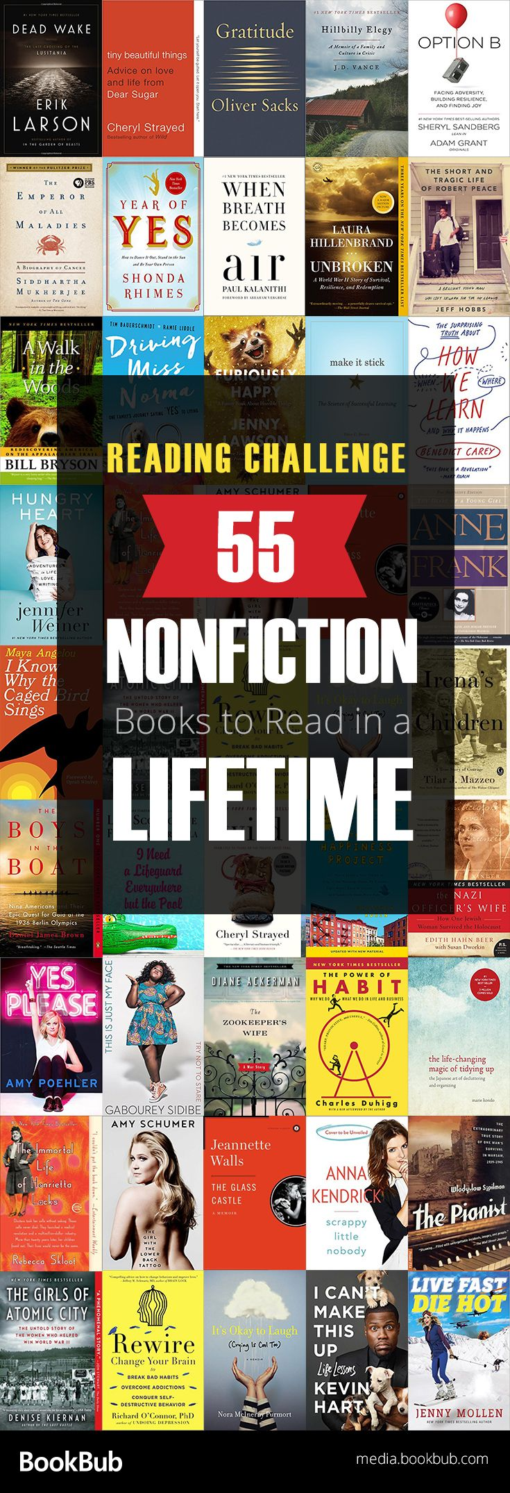 Check out our nonfiction read challenge. Featuring 55 nonfiction books to read in a lifetime, including inspirational true stories, historical books, memoirs, and more.
