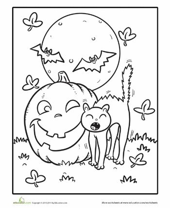 Worksheets: Color the Yawning Halloween Kitty