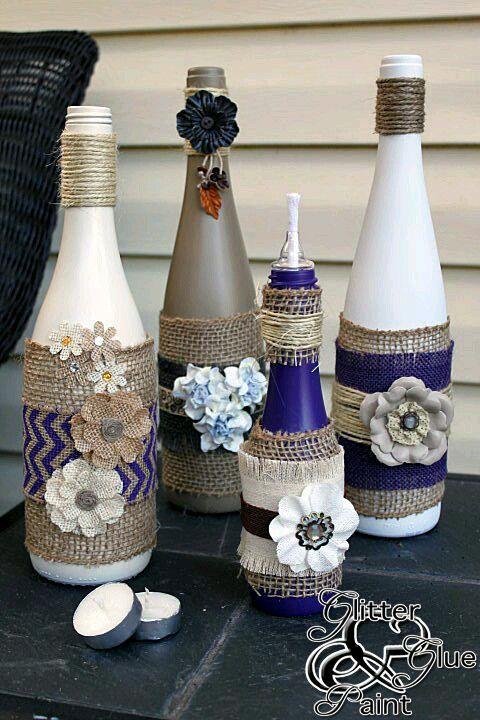 ideas para decorar botellas usando yute e hilo rstico