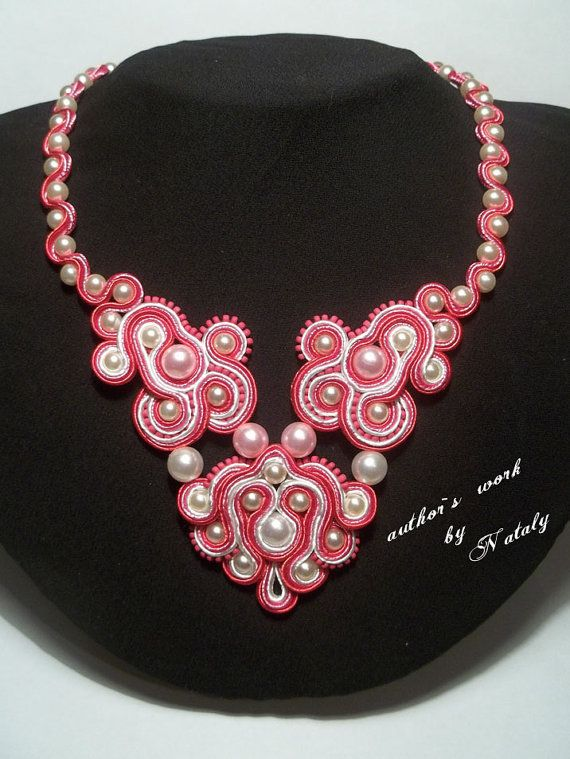 OOAK Soutache Jewelry Necklace Pearl Beads by Lily4you on Etsy, $40.00