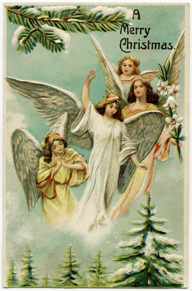 Vintage Christmas Postcard Angels Illustration Antique Merry Image Old