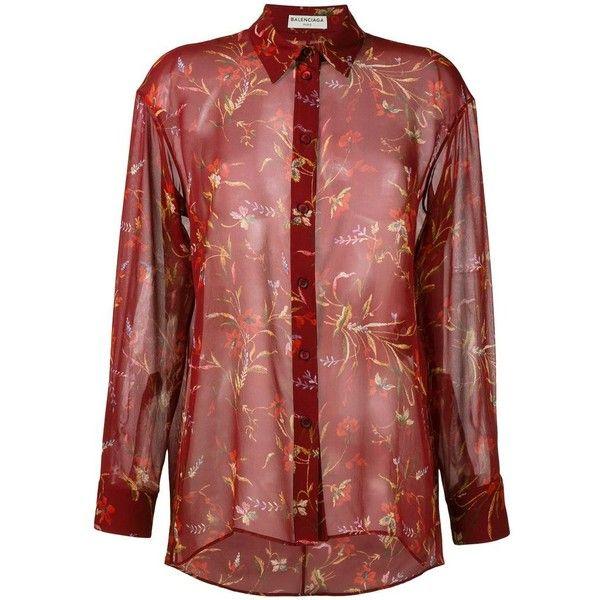 Balenciaga floral print sheer shirt (14.645 ARS) ❤ liked on Polyvore featuring tops, red, red top, sheer floral top, transparent top, balenciaga shirt and flower print shirt