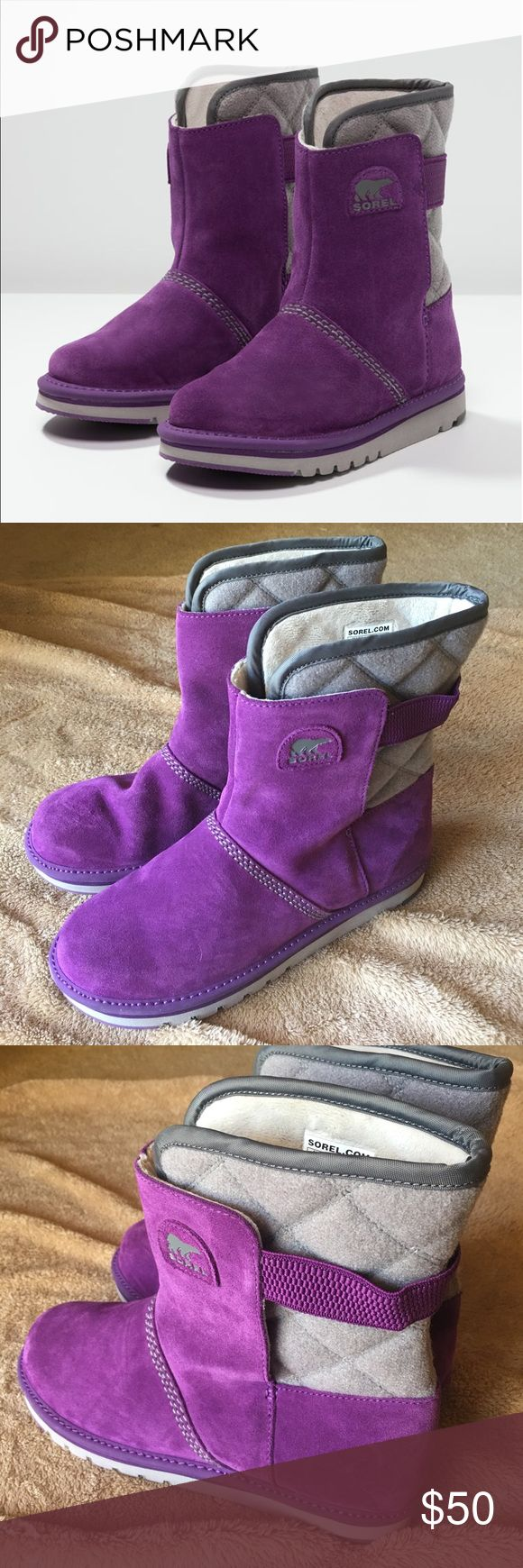 Sorel Kids Rylee Waterproof Boots New - never worn! Waterproof suede and fleece lining will keep their feet toasty throughout the cold months. Round toe. Waterproof. Quilted back panel. Split shaft with elastic band. Fleece lining. Pull-on. Imported. Let me know if you have any questions! #199 Sorel Shoes Boots