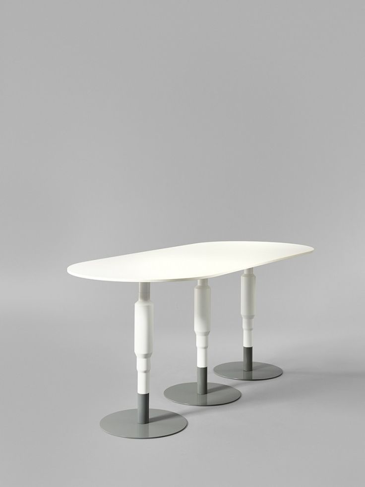 Minus tio - Cosmos 3X 730mm wood pedestal table in white with grey base