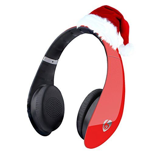 Discounted Labvon Bluetooth Noise Cancelling Headphones, Up to 106dB/mW of Sensitivity, Built in Mic Comfortable Portable Lightweight Headsets for Travel Work TV Computer Phone, Red