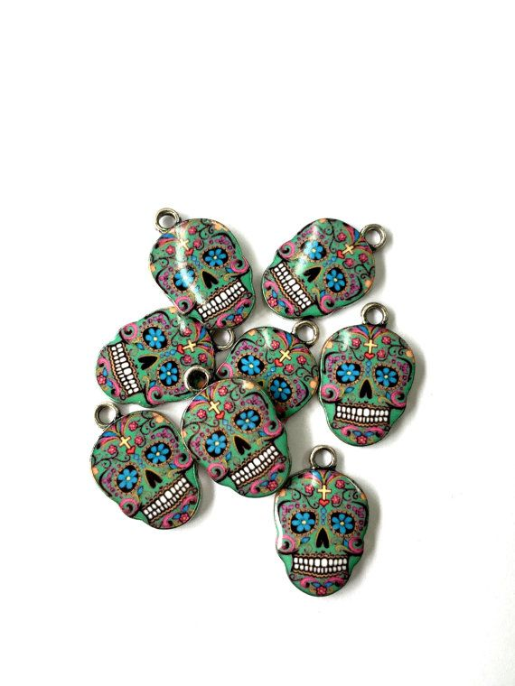 Green Multi Colored Day of the Dead Enamel Sugar by KajaSupplies